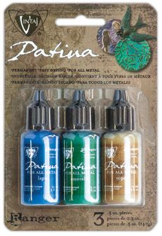 Vintaj Patinas are opaque inks specially formulated by Ranger to adhere to metal. They create beautiful and durable patina effects. The Patinas will colorize Vintaj Natural Brass Company findings and filigrees (as well as other metals) for gorgeous jewelry and crafting projects.