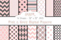 Baby Pink Grey Digital Papers   @creativework247