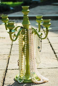 Candelabra Inspired Jewelry Holder.  I need one of these so bad!  I love how the rings have their own place too!