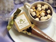 hot cocoa cone wedding favors  could also do spiced cider?