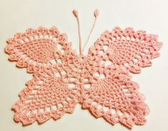 Doily  Crochet  Handmade  Pink Butterfly by CraftyChic90 on Etsy, $8.00