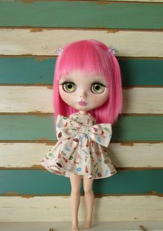 BLYTHE ARTWEAR, cotton cartoon kitty dress, handmade in the USA
