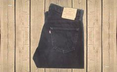 Vintage Levis 501 Jeans Canada Made Black Straight Leg Button Fly Red Tab 1990s W33 L32 by BlackcatsvintageUK on Etsy