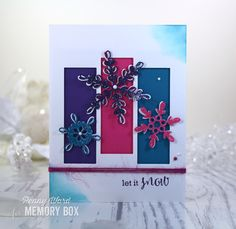 Hi Memory Box fans. Penny here today with so scrumptious non traditional holiday colors. Are you loving the Teal, Pink and Purple