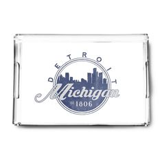 Detroit, Michigan - Skyline Seal - LP Artwork (Acrylic Serving Tray)