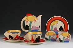 Andrew Muir and Clarice Cliff, Art Deco pottery, Moorcroft and Century Stamford teaset Vintage High Tea, Vintage China, Vintage Dishware, Vintage Ceramic, Art Nouveau, Clarice Cliff, Ceramic Shop, Rookwood Pottery, Teapots And Cups