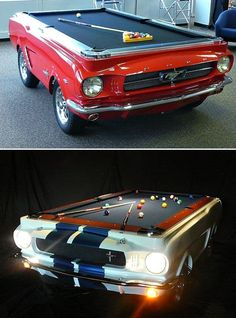 A Mustang pool table? I will save . A Mustang pool table? I will save every last penny to … Seriously? A Mustang pool table? I will save every last penny to get him one of these for his man cave! Car Part Furniture, Automotive Furniture, Man Cave Furniture, Furniture Design, Automotive Group, Man Cave Garage, Car Man Cave, Garage Bar, Garage Ideas