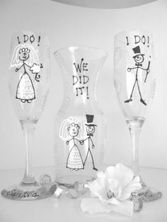 Two Hand Painted Glasses and Vase Wedding by ImGlassyEyed on Etsy, $44.00