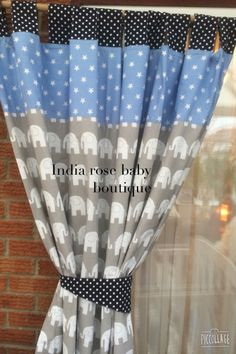 Elephant curtains for new baby boys nursery, coordinated nicely with 2 shades of blue