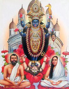 Ramakrishna Dev and Sarada Maa seated before Kali.