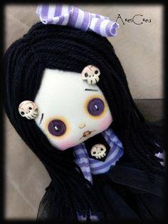 Items similar to Handmade doll. Creepy cute goth cloth doll Viola handmade zombie doll with button eyes. on Etsy - LENE Zombie Dolls, Voodoo Dolls, Creepy Dolls, Diy Rag Dolls, Diy Doll, Blythe Dolls, Girl Dolls, Cute Zombie, Spooky Eyes