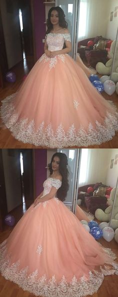 Ball Gown Prom Dress, Elegant Lace Off The Shoulder Tulle Ball Gowns Quinceanera Dresses 2018 Coral Prom Dress Shop Short, long ball gowns, Prom ballroom dresses & ball skirts Pretty ball gowns, puffy formal ball dresses & gown Lace Ball Gowns, Tulle Ball Gown, Ball Gowns Prom, Tulle Prom Dress, Ball Gown Dresses, Evening Dresses, 15 Dresses, Dress Lace, Sexy Dresses
