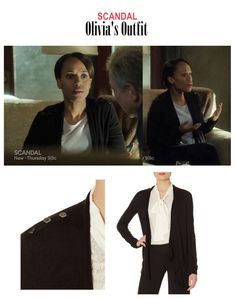 "On the Blog: Olivia Pope's (Kerry Washington) drape cardigan with buttons on shoulders | Scandal (Ep. 417) - ""Put A Ring On It"" #tvstyle #tvfashion #TGIT #gladiators #fashion #outfits"