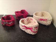 More heart shaped crochet baskets. Made of vintage saris and cotton.