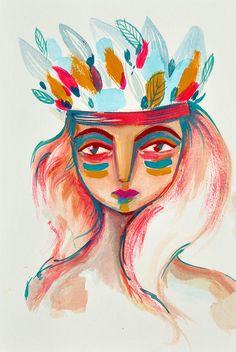 art print indian girl - Irene Renon