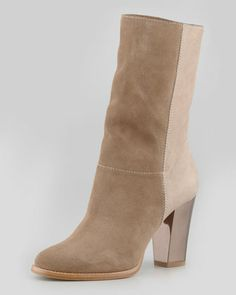 Music Mixed-Media Ankle Bootie, Taupe by Jimmy Choo at Neiman Marcus.