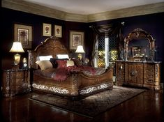 Excelsior Bedroom Set Aico Furniture in Bedroom Sets. The Excelsior Bedroom Set by AICO Furniture with its stateliness evokes feelings of old-world majesty. This noble line features finery that rivals Bedroom Furniture Sets, Furniture Design, Bedroom Decor, Fine Furniture, Furniture Stores, Surf Bedroom, Bedroom Pics, Chicago Furniture, Bedroom Ideas