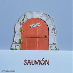 Haz de la caída de los dientes de leche de los niños un momento especial y mágico con esta original puerta del Ratoncito Pérez 100% artesanal. Color salmón (PVP: 19,95 € + Gastos de envío)