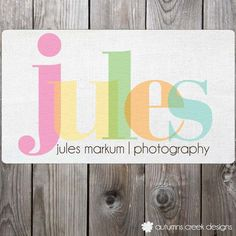 Colorful Typographical Premade Text Only Logo Photography Shop Logo Watermark Design. $25.00, via Etsy.