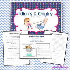 """Idioms - speech therapy. TpT. . Ever wonder why people say things like """"raining cats and dogs""""? Wonder no more! . 42 idioms- including artwork, origins, definitions, and examples. 17 worksheets. 1 month of work you don't have to do!"""