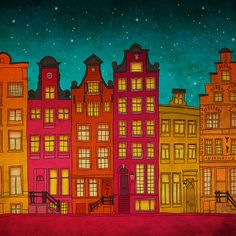 Amsterdam  Amsterdam art illustration print  door Anietillustration, $16.50