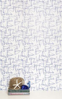 Modern Kids Wallpaper. Anchors Away! Add a touch of nautical with Kimberly Lewis' Set Sail Wallpaper.