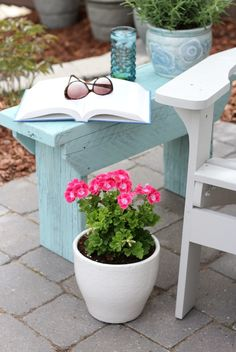 Build a Distressed Wood Outdoor Side Table or Bench - Satori Design for Living