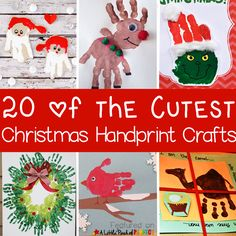 20 of the Cutest Christmas Handprint Crafts for Kids: The ideas include classic Christmas crafts like Santa, Rudolph, a Christmas tree, and The Grinch as well as nativity ideas, and winter animals. Christmas Handprint Crafts, Preschool Christmas, Toddler Christmas, Christmas Crafts For Kids, Xmas Crafts, Fun Crafts, Christmas Decorations, Christmas Gifts, Christmas Activities
