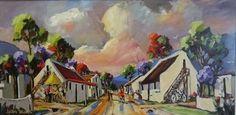 Street Scene In Little Village - Gericke Anton Upcoming Artists, South African Artists, Cottage Art, Anton, Landscape Art, Oil Paintings, Philosophy, Art Gallery, Scene