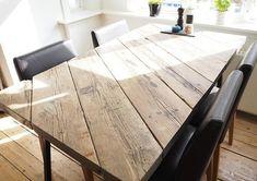 Billedresultat for bordplade diy Plank Table, Deck Table, Diy Dining Table, Diy Furniture Projects, Woodworking Furniture, Home Decor Furniture, Furniture Plans, Farmhouse Table, Dinner Table
