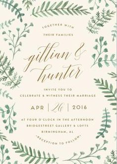 This Hand Painted Wedding Invitation Highlights Watercolor Fern Illustrations. Floral, Rustic, Green, Beige Wedding Invitations From Minted By Independent Artist Amy Kross. Wedding Invitation Inspiration, Laser Cut Wedding Invitations, Watercolor Wedding Invitations, Wedding Invitation Design, Bridal Shower Invitations, Wedding Stationery, Party Invitations, Engagement Invitations, Wedding Inspiration