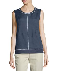 VINCE LACE-INSERT SLEEVELESS TOP, OPTIC WHIT. #vince #cloth #