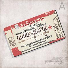 Wedding Invitation movie ticket / Bridal by CreativeMouseDesign, $15.00