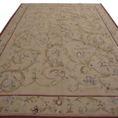 10' x 14' Hand-woven Wool French Aubusson Flat Weave Rug New Free Shipping F-9