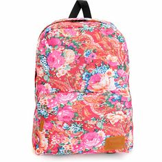 The Vans Deana Floral 22L backpack is a stylish Women's pack for short trips. Load up the 22 liter all-over floral print pack with a zipper main compartment and front zip pouch pocket with synthetic leather zipper pulls plus padded adjustable shoulder str
