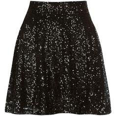 Black Sequin Skater Skirt ($10) ❤ liked on Polyvore featuring skirts, bottoms, faldas, flared skater skirt, circle skirt, knee length skater skirt, circle skater skirt and sequin skirt