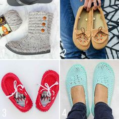 Free crochet patterns using flip flops to make slippers, boots, moccasins and kids boat shoes. | Make And Do Crew