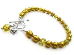 Freshwater Pearl and Swarovski Crystal Bracelet - Mustard Pearl Jewelry, Sterling Silver Jewelry, Crystal Bracelets, Heart Charm, Color Splash, Fresh Water, Mustard, Swarovski Crystals, Pearls