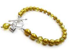 Freshwater Pearl and Swarovski Crystal Bracelet - Mustard