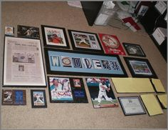 Middle picture I am pretty sure is their surname spelled with letters from all the baseball team logos ! Neat idea!