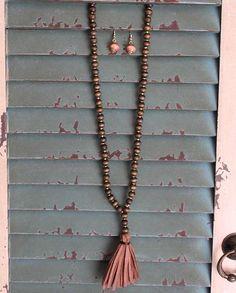 Christmas gift idea under $20 - Stocking Stuffer - Brown Wooden Beaded Tassel Jewelry Set - #stockingstuffer #giftideas #christmasgiftideas gifts under 20 dollars