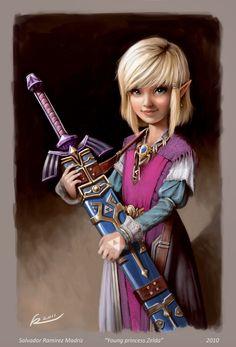 Young Princess Zelda holding the Master Sword - The Legend of Zelda; fan art