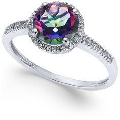 Mystic Topaz (1-1/2 ct. t.w.) and Diamond (1/8 ct. t.w.) Ring in 14k... ($600) ❤ liked on Polyvore featuring jewelry, rings, white gold, 14k diamond ring, diamond jewellery, white gold rings, diamond rings и white gold diamond ring