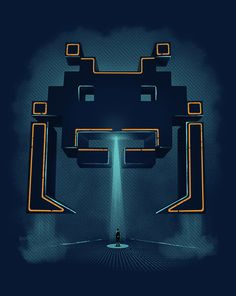 Grid Invader T-Shirt $10 Space Invaders Tron mashup tee at ShirtPunch today only!