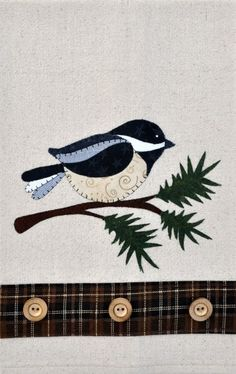 Chickadee & Evergreen ~ Wooden Bear Quilt Designs ~ Applique Pattern ~ tea towel in Crafts, Sewing, Quilting, Quilt Patterns Bird Applique, Wool Applique Patterns, Sewing Appliques, Quilt Patterns, Wool Quilts, Barn Quilts, Wool Applique Quilts, Applique Towels, Patchwork Quilting