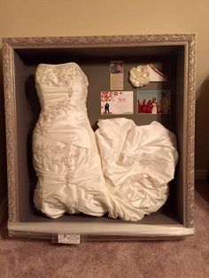 Preserve and display your wedding dress in a shadow box - what a neat idea!