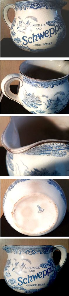 """tx for sharing ebay/GB : SCHWEPPES WILLOW PATTERN JUG LEMONADE & GINGER BEER/GINGER ALE & TONIC WATER JUST 3 1/2"""" IN HEIGHT  NICE CONDITION WITH NO CHIPS OR CRACKS SOME LIGHT STAINING TO INSIDE AND BASE (I HAVEN'T ATTEMPTED TO CLEAN IT AS I PREFER TO LEAVE UP TO THE BUYER) Willow Pattern, Tonic Water, Ginger Beer, Lemonade, Conditioner, Chips, Base, Tableware, Dinnerware"""