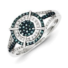 Sterling Silver 1/3 Carat Blue White Diamond Round Ring Available Exclusively at Gemologica.com