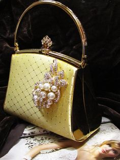 Yellow evening purse.