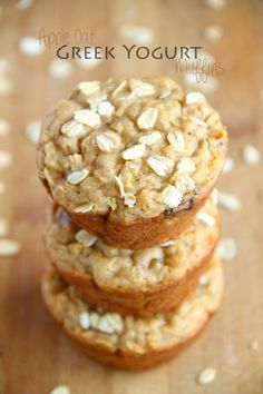 Apple Oat Greek Yogurt Muffins -- ridiculously soft and tender with NO butter or oil!
